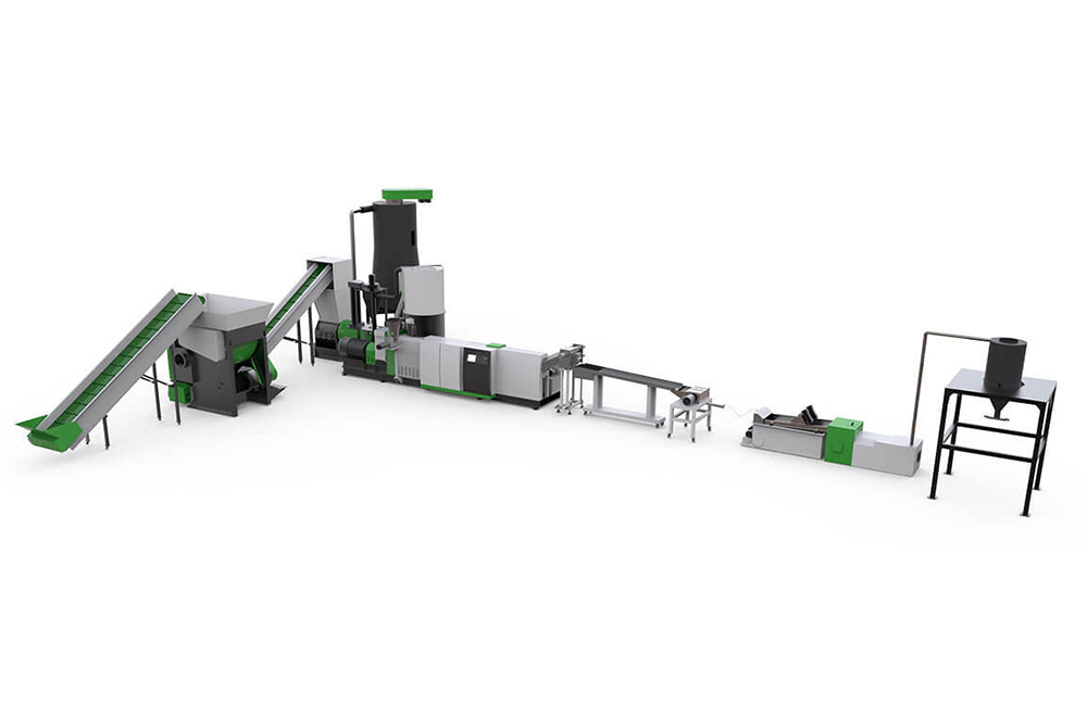 ASP Shredder Extruder Recycling Pelletizing Line