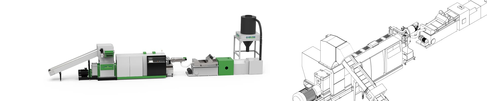 ASP-Mini shredder extruder recycling pelletizing line